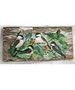 Vtg Handcrafted Clay & Barn Wood Wall Art DARLENE THIESIES Chickadees LO... - $65.00