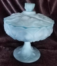 Vintage Fenton Blue Satin Water Lily Covered Compote, Signed (1971-1983) - $36.00