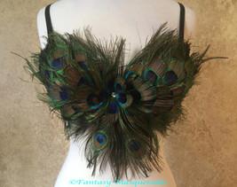 Pick Size-Peacock Eye Feather Bra Top Moulin Burlesque Costume Belly Dan... - $59.99