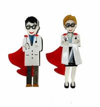 "Cute Female/Male Doctor Nurse Super Hero Acrylic Acetate Brooch Pin ""C"" ... - $16.20"