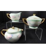 Antique Three Piece Hand Painted Barvarian Porcelain Individual Tea Set - $37.99