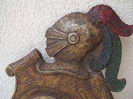 Antique 1900 German black forest carved wood shield medieval knight shop sign image 4