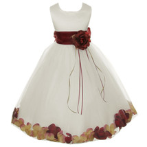 Ivory Satin Bodice Layers Tulle Skirt Burgundy Flower Ribbon Brooch and Petals - $48.00