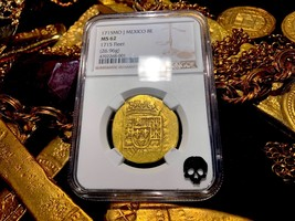 MEXICO 1715 FLEET 8 ESCUDOS SHIPWRECK NGC 62 DOUBLOON PIRATE GOLD COINS COB - $18,950.00