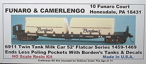 Funaro & Camerlengo HO Borden's Twin Tank Milk Car 1459 -1469  Kit 6911