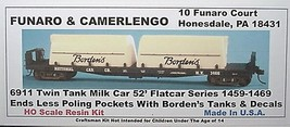 Funaro & Camerlengo HO Borden's Twin Tank Milk Car 1459 -1469  Kit 6911 image 1