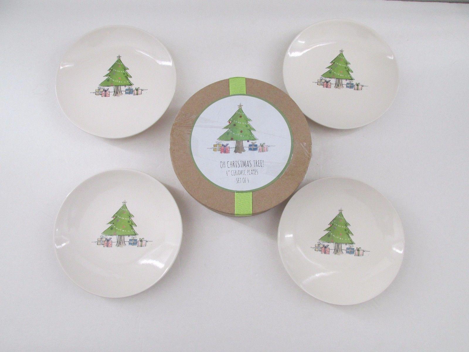 new rae dunn oh christmas tree 6 christmas appetizerdessert plates set of 4 8898