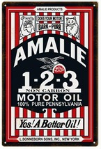 Reproduction vintage looking Amalie 1-2-3 Motor Oil Gas Station Sign - $25.74