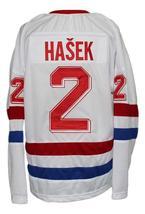 Custom Name # Czechoslovakia Retro Hockey Jersey New White Hasek #2 Any Size image 2