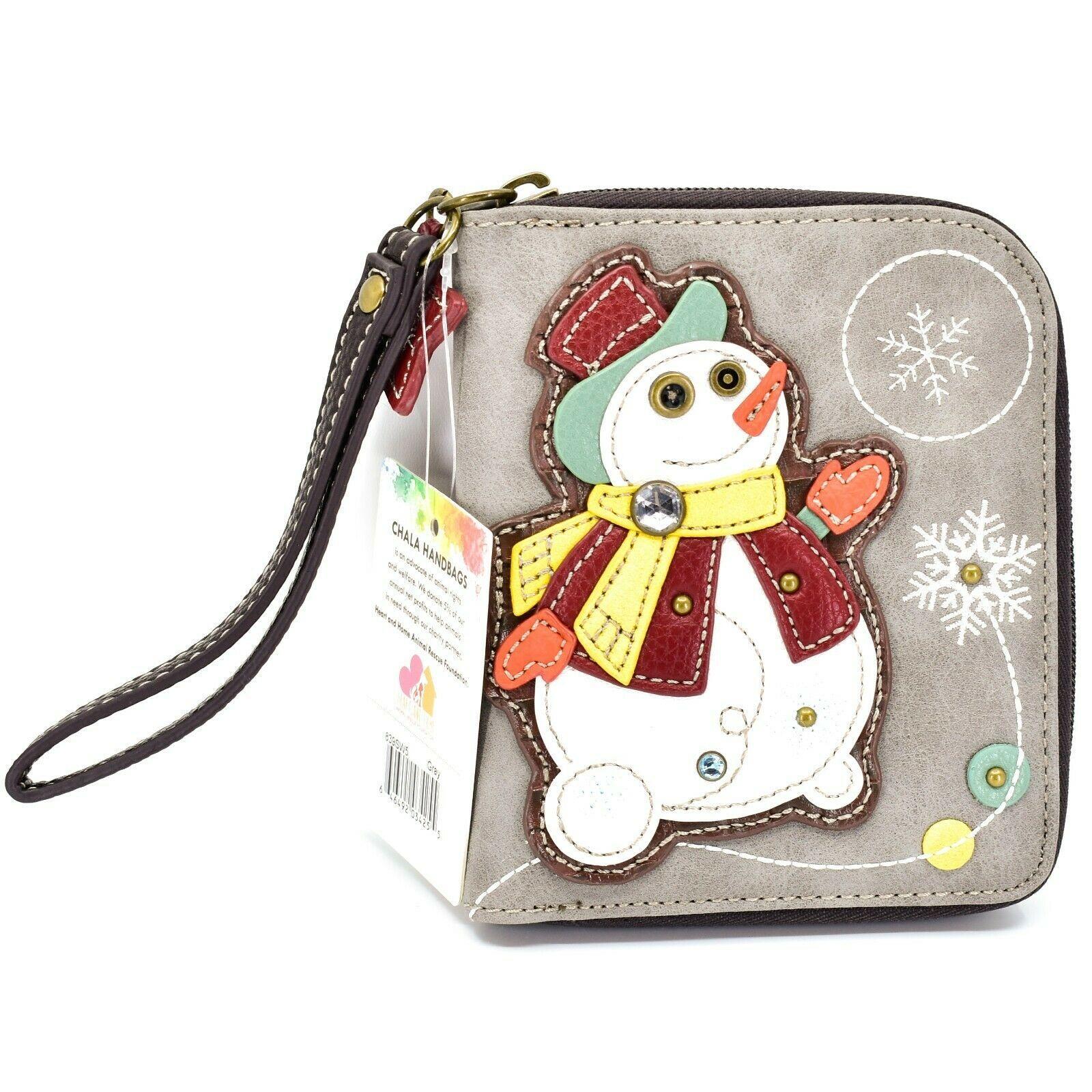 Chala Handbags Faux Leather Snowman Winter Gray Zip Around Wristlet Wallet