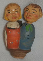 Vintage Carved Wood Mechanical Kissing Couple Wine Bottle Stopper  - $28.04