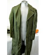 Long Green Army Trench Coat - Military Overcoat - Vietnam Era - Size 36R  - $56.99