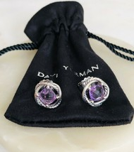 David Yurman Silver Stud Infinity Earrings with Amethyst 7x7 NEW Authentic - $166.25