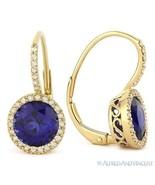 3.37ct Round Cut Lab Sapphire Diamond Leverback Drop Earrings in 14k Yel... - $625.99