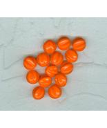 14  Bright Orange Vintage German  Glass Grooved Beads - $13.99