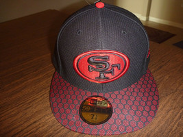 San Francisco 49ers New Era 59FIFTY 2017 On Field BLACK/RED Fitted Cap Sz 7 5/8 - $24.99