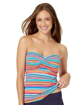 NEW Anne Cole Stripes Twist Bandeau Tankini Swim Top size XS XSmall Mul... - $24.74
