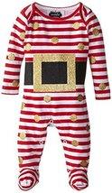 Mud Pie Baby-Girls Newborn Glitter Santa Footed One Piece, Red/White, 9-12 Month - $23.91