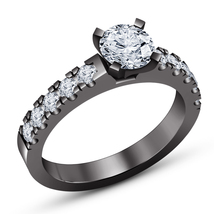 14K Black Gold Over Round Diamond Ring 925 Silver Womens Engagement Wedd... - $72.99
