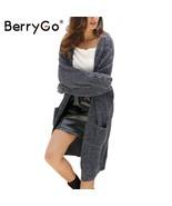 BerryGo Winter knitted sweater long cardigan Women autumn long sleeve po... - $45.69