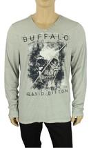 NEW BUFFALO DAVID BITTON NIKLAS V-NECK SKULL GREY LONG SLEEVE T SHIRT TE... - $29.69