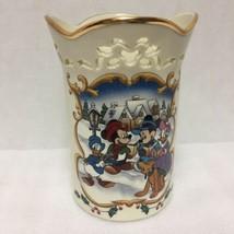 Lenox Mickey Candlelight Carolers Vase Christmas 1999 Disney Ivory China - $49.49
