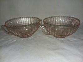 Macbeth Evans Petalware Pink Depression Glass 2 Cream Soup Bowls 2 Handl... - $24.99
