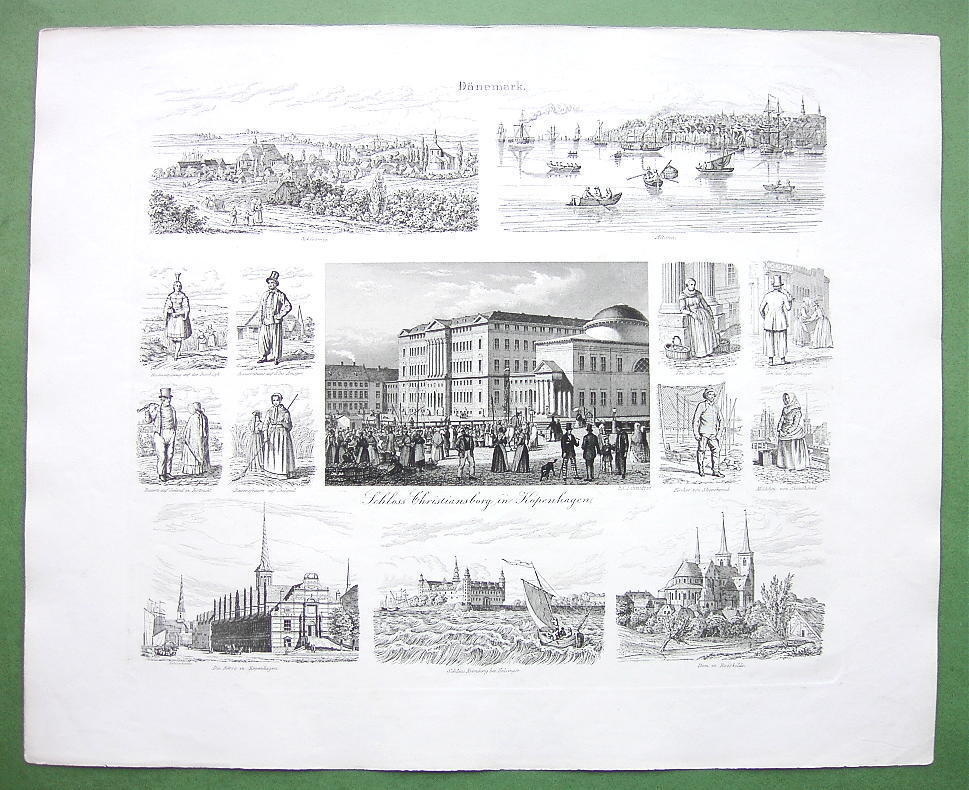 Primary image for DENMARK Copenhagen Altona Schleswig Kronberg - 1860 SCARCE Print Multiple Views