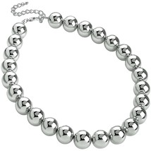 Large 18 mm ball bead silver colour choker necklace fashion jewellery - $14.15