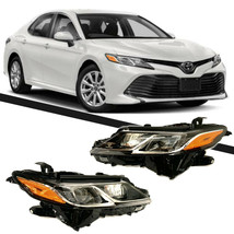 Fits For 2018 2019 Toyota Camry Headlights Black Housing Clear Lens Set - $644.08