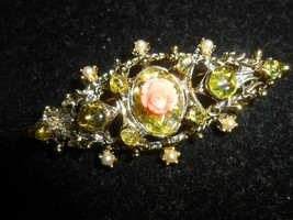 ✨ Vintage gorgeous Brooch Pin crystal stones on gold brass rectangle des... - $22.27