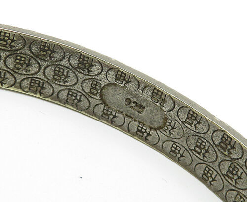 CHINESE 925 Silver - Vintage Floral Etched Pattern Bangle Bracelet - B4837