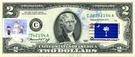 MONEY US $2 DOLLARS 1976 PHILADELPHIA STAMP CANCEL & CHARLIE BROWN CHRIS... - $58.59