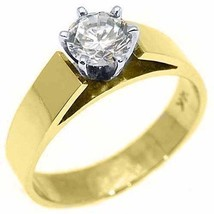 WOMENS SOLITAIRE BRILLIANT ROUND DIAMOND ENGAGEMENT RING YELLOW GOLD .60... - £1,447.50 GBP