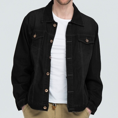 Spring Tide Retro Men Cowboy Jacket Black Youth Student Cowboy Jacket Large Size