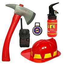 Fire Fighter Chief Role Play Costume Set Kindergarten Fire Extinguisher ... - $21.28
