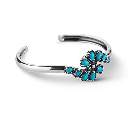 925 Silver Sleeping Beauty Turquoise Gemstone Cuff Bracelet - Large