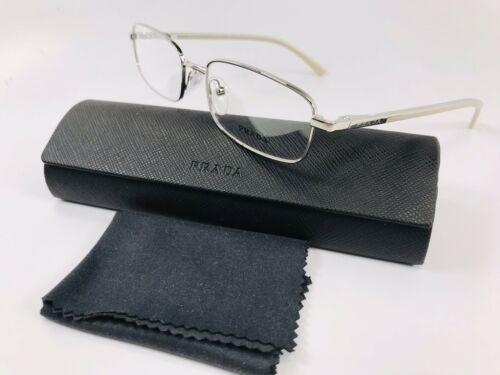 ✴ New Prada VPR 59M 1BC-1O1 Silver & Beige Eyeglasses 52mm with Prada Case