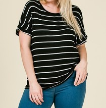 Black Striped Plus Top, Striped Womens Plus Top, Relaxed,Classic, Black White