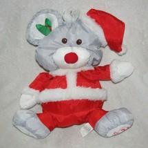 Fisher Price Puffalump Gray Christmas Mouse Plush 1988 Santa Hat Suit 80... - $19.30