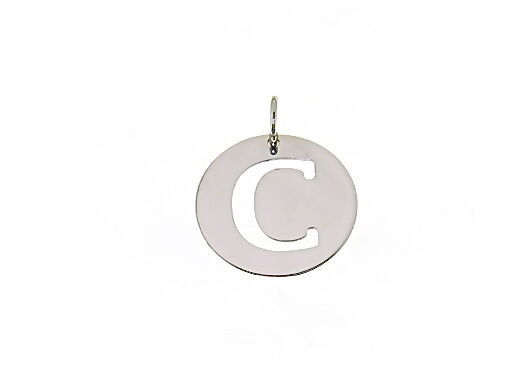 18K WHITE GOLD ROUND MEDAL WITH INITIAL C LETTER C MADE IN ITALY DIAMETER 0.5 IN