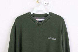 Vintage 90s Chaps Ralph Lauren Mens XL Spell Out Stitched V-Neck Sweater Green - $29.65