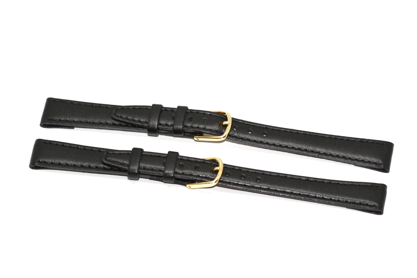 Primary image for 2 PIECES TIMEX 12MM BLACK STITCHED CLIK-ON GENUINE LEATHER WATCH BAND STRAP