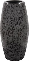 Vase Howard Elliott Cylinder Large Glossy Black Chiseled - $149.00