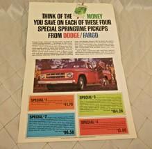 Dodge Fargo Light Duty Trucks Ad 1968 1970 D100 Think Green Brochure Can... - $18.37