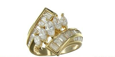 Vintage Ladies Size 6 Gold Plated Sterling Silver CZ Fashion Ring No. 2144