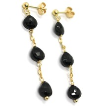 18K YELLOW GOLD PENDANT EARRINGS, BLACK SPINEL DROP, 1.77 INCHES image 2