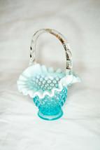 """Vintage Fenton Hobnail Opalescent Blue 6"""" Basket Crimped Ruffled - $44.55"""