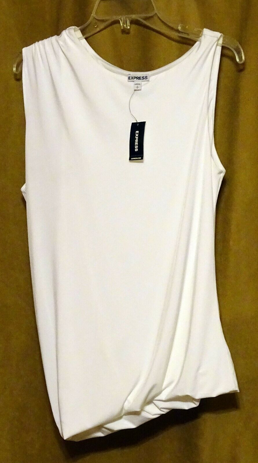 NEW EXPRESS $35 WHITE ASYMMETRIC DRAPED LINED SLEEVELESS DRESSY TOP BLOUSE S