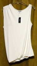 NEW EXPRESS $35 WHITE ASYMMETRIC DRAPED LINED SLEEVELESS DRESSY TOP BLOUSE S image 1